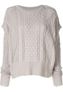 Maison Mihara Yasuhiro Cable Knit Slouchy Sweater - Cinza