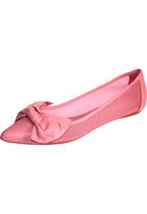 Sapatilha Couro Telada Com Laço Trend Light Pink