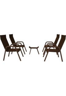 Conjunto 4 Cadeiras Juncadas Carol Mesa Apoio Aço Nobre Marrom