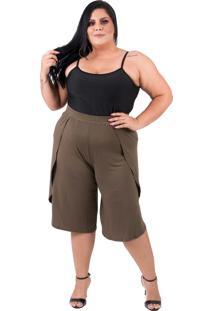 Shorts Bermuda Com Fenda Lateral Verão Plus Size Verde
