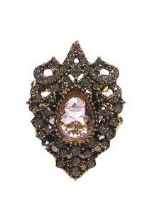 Anel Armazem Rr Bijoux Cristais Swarovski Dourado