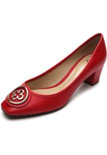 Scarpin Couro Capodarte Logo Vermelho