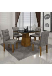Conjunto De Mesa Com 4 Cadeiras Itália Ii Canela E Cinza
