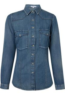 Camisa Dudalina Manga Longa Jeans Com Bolsos Vintage Feminina (Jeans Medio, 44)