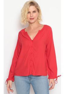 Blusa Lisa Com Botões- Vermelhalevis