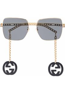 Gucci Eyewear Square-Frame Logo Charm Sunglasses - Preto