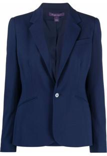 Ralph Lauren Collection Blazer Com Abotoamento Simples De Lã - Azul