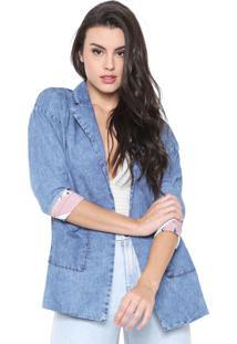 Blazer Jeans Lança Perfume Dupla Face Estampado Azul