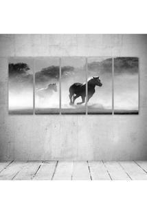 Quadro Decorativo - Horse Herd Fog.Jpeg - Composto De 5 Quadros - Multicolorido - Dafiti