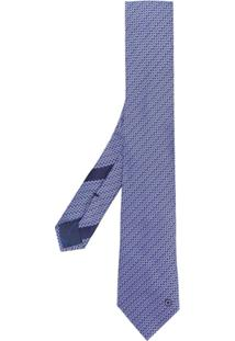 Salvatore Ferragamo Gravata De Seda Com Padronagem - Azul