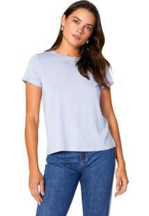 Amaro Feminino Camiseta Listrada Viscolycra, Listras Azul