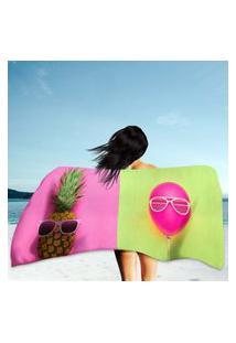 Toalha De Praia / Banho Pineapple And Pink Air Balloon Único