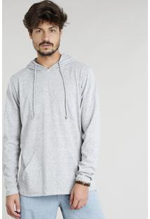 Camiseta Masculina Botonê Com Capuz Com Bolso Canguru Manga Longa Cinza Mescla