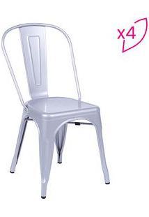 Or Design Jogo De Cadeiras De Jantar Retrã´ Cinza 4Pã§S