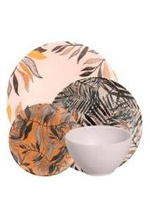 Jogo De Jantar De Ceramica Stone Haya Amarilla Porto Brasil 24Pcs