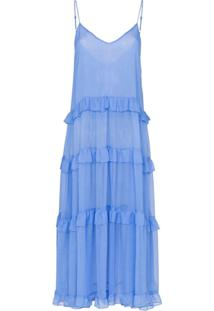 Les Rêveries Vestido Gola V - Azul