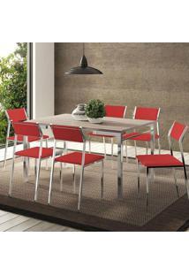 Mesa 1526 Nogueira Cromada Com 6 Cadeiras 1709 Vermelho Real Carraro