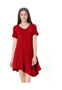 Vestido Casual Manga Curta - Vermelho
