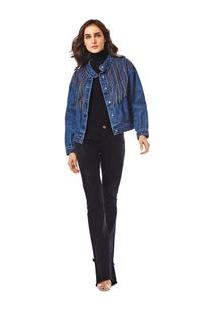 Jaqueta Bomber Bordada Manual Jeans