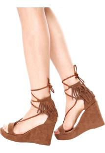 Sandália Dafiti Shoes Plataforma Franjas Caramelo
