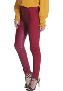 Calça Skinny Miss Joy Leather Feminina - Feminino-Vinho