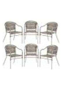 Cadeiras 6Un Para Area Varanda Fibra Sintetica Sala Cozinha Jardim Sacada Floripa - Capuccino