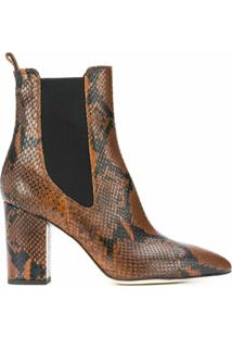 Paris Texas Snakeskin-Effect Ankle Boots - Marrom
