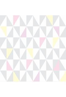 Papel De Parede Adesivo Triângulos Cinza Rosa Amarelo (0,58M X 2,50M)
