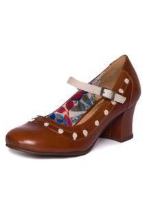 Sapato Em Couro Retrô Feminino - Jatobá / Araçá - 7848