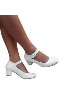 Sapato Boneca Noiva Verniz Salto Baixo Grosso Duani Feminino - Feminino-Branco