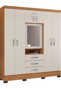 Guarda Roupa Casal Com Espelho Grafite 7Portas - Colibri - Natura Real / Off White