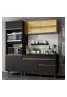 Cozinha Compacta Madesa Reims 190002 Com Armário E Balcão - Preto/Rustic