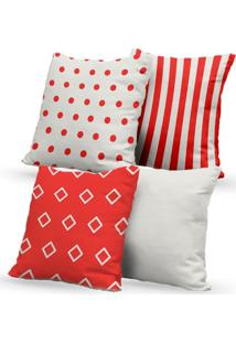 Kit 4 Capas De Almofadas Decorativas Own Geométricas Vermelho E Branco 45X45 - Somente Capa