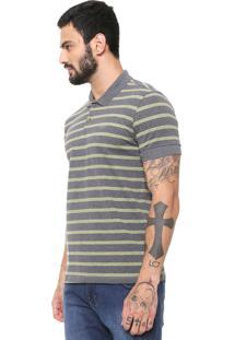 Camisa Polo Colcci Reta Listrada Cinza/Amarela