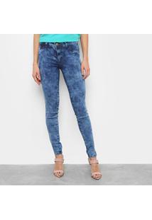 Calça Jeans Grifle Skinny Marmorizada Feminina - Feminino-Azul