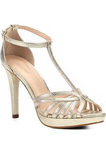 Sandália Shoestock Metalizada Meia Pata Tirinhas Feminina - Feminino-Dourado
