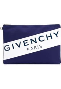 Givenchy Logo Zipped Clutch - Azul
