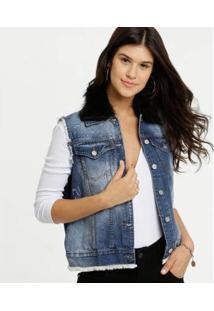 Colete Feminino Recorte Tela Pelúcia Uber Jeans - Feminino-Azul
