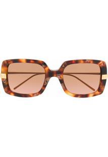 Boucheron Eyewear Óculos De Sol Quadrado Com Efeito Tartaruga - Marrom