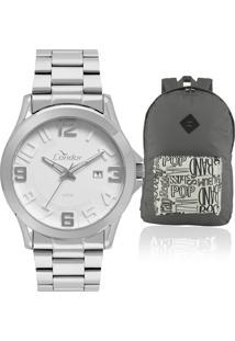 7d8eed400fc Eclock. Relógio Masculino Dobrável Analógico Kit Condor Technos Clock  Mochila Com Soundsco2115ksr