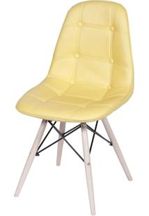 Cadeira Eames Eiffel Botone 1110 Amarela Base Madeira- 32945