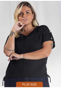 Blusa Plus Size Canelada Secret Glam Preto