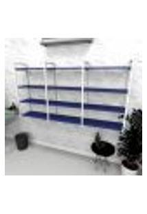 Estante Industrial Escritório Aço Cor Branco 180X30X98Cm (C)X(L)X(A) Cor Mdf Azul Modelo Ind58Azes