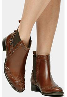 Bota Couro Chelsea Shoestock Cravinhos Fivela Feminino - Feminino-Marrom