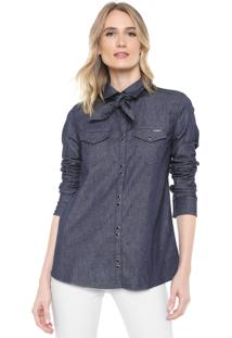 Camisa Jeans Forum Reta Botões Azul