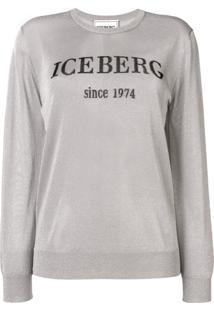 Iceberg Glitter Logo Sweater - Prateado