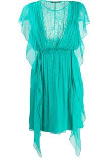 Alberta Ferretti Vestido De Seda Com Recorte Em Renda - Verde