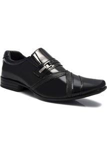 Sapato Social Couro Salazari Verniz Masculino - Masculino-Preto