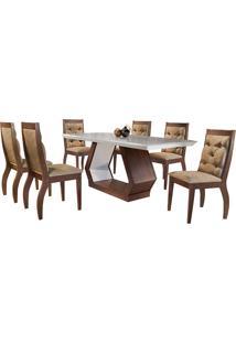 Conjunto De Mesa Para Sala De Jantar Com 6 Cadeiras Ibis/Agata-Rufato - Animalle Chocolate / Off White / Café