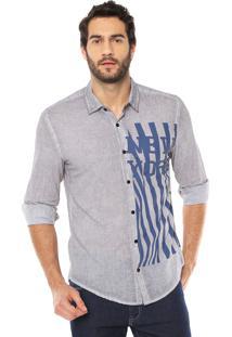 Camisa Calvin Klein Jeans Estampada Cinza